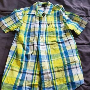 boy youth XL button front yellow/blue plaid